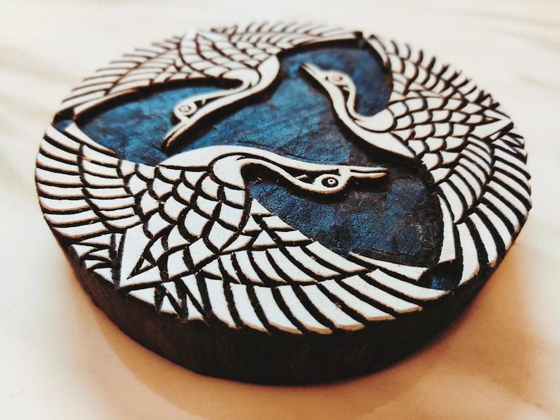 Japanese Indigo cranes; three cranes batik stamp; India wood printing block; hand carved stamp; pottery stamp