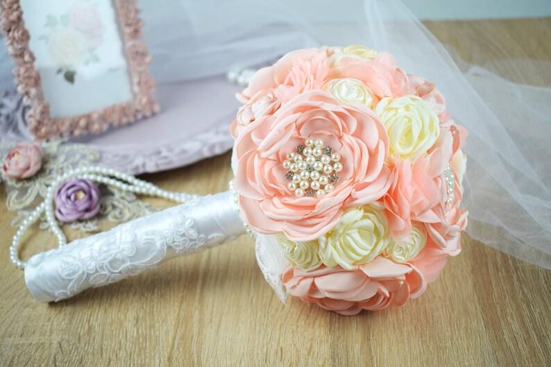 Brooch Wedding Bouquet Bridal Bouquet Chiffon and Lace Bouquet Satin Flower Bouquet Peach and Cream Satin Bouquet
