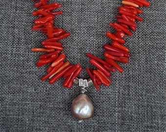 genuine red coral spikes genuine white freshwater pearls red coral beads classic necklace