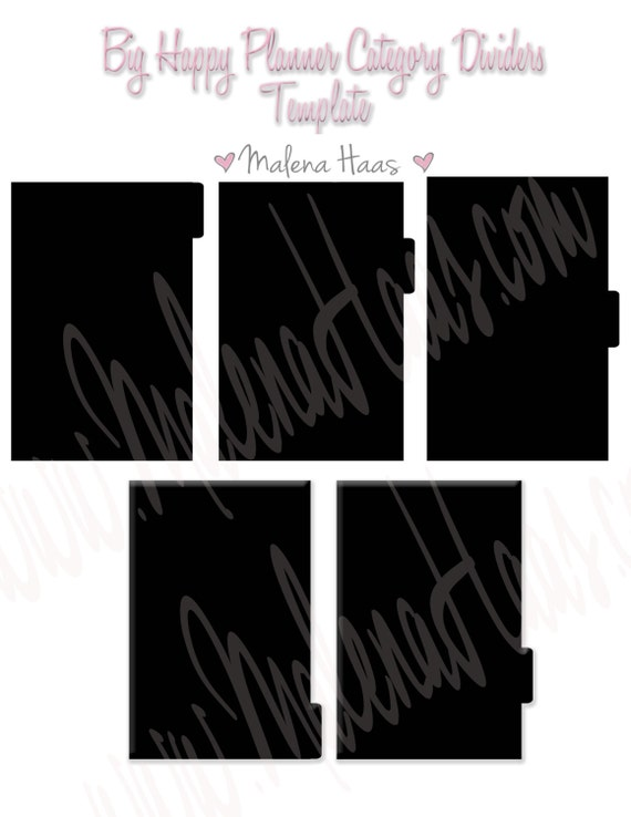Divider Tab Template For Big Happy Planner Can Be Used As Etsy