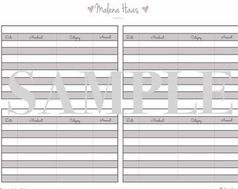 Expense Ledger and Weekly Expense Tracker for PM Sized Planner or Agenda (Printable Insert - Digital Download)