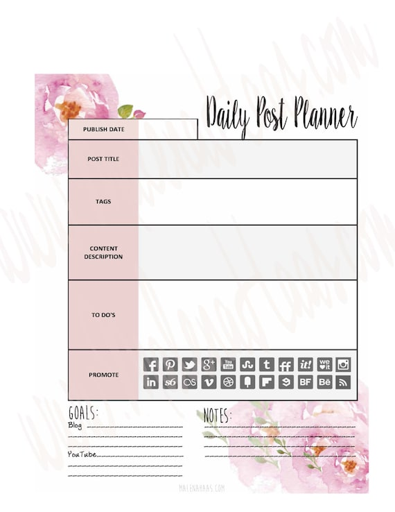 Daily Blog or Vlog Post Planner Insert for Your Planner Can Work with Happy Planner, Bullet Journal, Erin Condren and More!