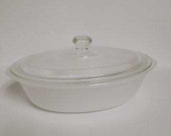 Vintage Glasbake 1 quart casserole dish with lid oval white J-235 Made in USA