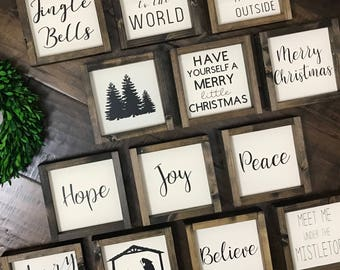 christmas mini collection christmas wood sign farmhouse style farmhouse home decor christmas decor christmas sign farmhouse sign - Christmas Wooden Signs
