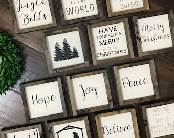 christmas mini collection christmas wood sign farmhouse style farmhouse home decor christmas decor christmas sign farmhouse sign - Christmas Decor Signs