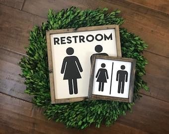 Restroom Sign | Bathroom Wall Decor | Farmhouse Bathroom Sign | Farmhouse Sign | Farmhouse Decor | Fixer Upper Style | Bathroom Decor | Home