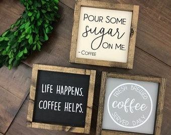 Pour Some Sugar On Me Coffee Sign | Coffee Bar | Coffee Decor | Kitchen Sign