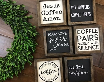 The Coffee Collection | Coffee Bar Sign | Coffee Station | Kitchen Wall Decor | Farmhouse Boho Modern | But First Coffee Fresh Brewed Daily