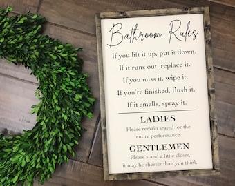 Bathroom Rules Sign | Bathroom Wall Decor | Funny Bathroom Sign | Flush the Toilet Please Remain Seated | Guest Bathroom Kids Bathroom Decor