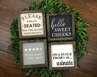 Bathroom Signs Choose from 4 Styles | Please Remain Seated Sign | Hello Sweet Cheeks Wood | Would Poop Here Bathroom Review | Fun Wall Decor