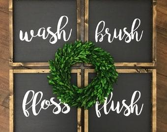 Wash Brush Floss Flush | Set of 4 | Wood Sign | Bathroom Sign | Bathroom Decor | Farmhouse Style | Farmhouse Sign | Farmhouse Bathroom