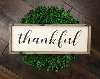 Thankful Sign | Wood Sign | Farmhouse Sign | Farmhouse Decor | Farmhouse Style | Fall Home Decor | Fall Wood Sign | Thanksgiving Sign | Gift