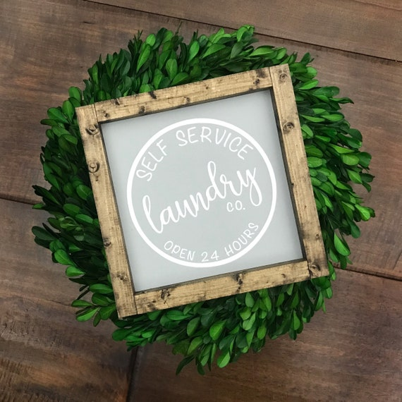 The laundry room Self service only wooden black white wall art sign 7x7