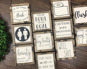 NEW! Bathroom Collection | Funny Bathroom Signs | Bathroom Wall Decor | Restroom Bathroom Decor | Farmhouse Bathroom Sign | Guest Bathroom