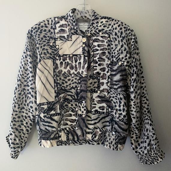 Vintage Silk Snow Leopard Bomber Jacket - image 2