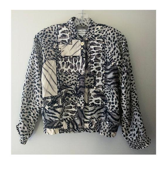 Vintage Silk Snow Leopard Bomber Jacket - image 1