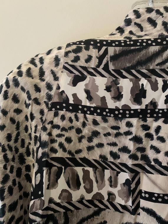 Vintage Silk Snow Leopard Bomber Jacket - image 6