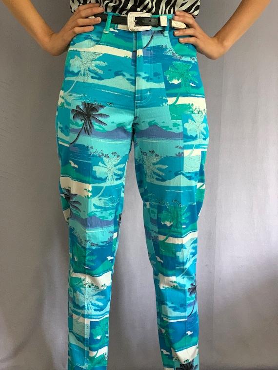 90s Turquoise Bold Palm Print Pants - image 3
