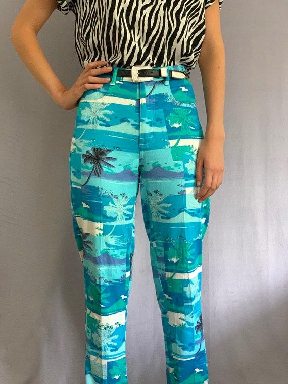 90s Turquoise Bold Palm Print Pants - image 1