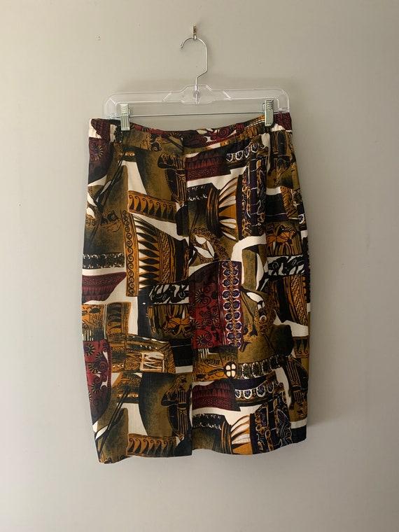 90s Roman Novelty Print Pencil Skirt - image 3