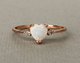 White Opal Heart Rose Gold Simulated Diamond Sterling Silver Engagement Promise Ring, Dainty Simulated Diamond Heart Women's Ring