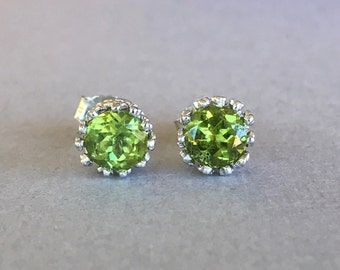 Natural Round Peridot Earrings, Sterling Silver Round 6mm Peridot Genuine Stone Crown Stud Post Earrings For Women, Great Holiday Gift!
