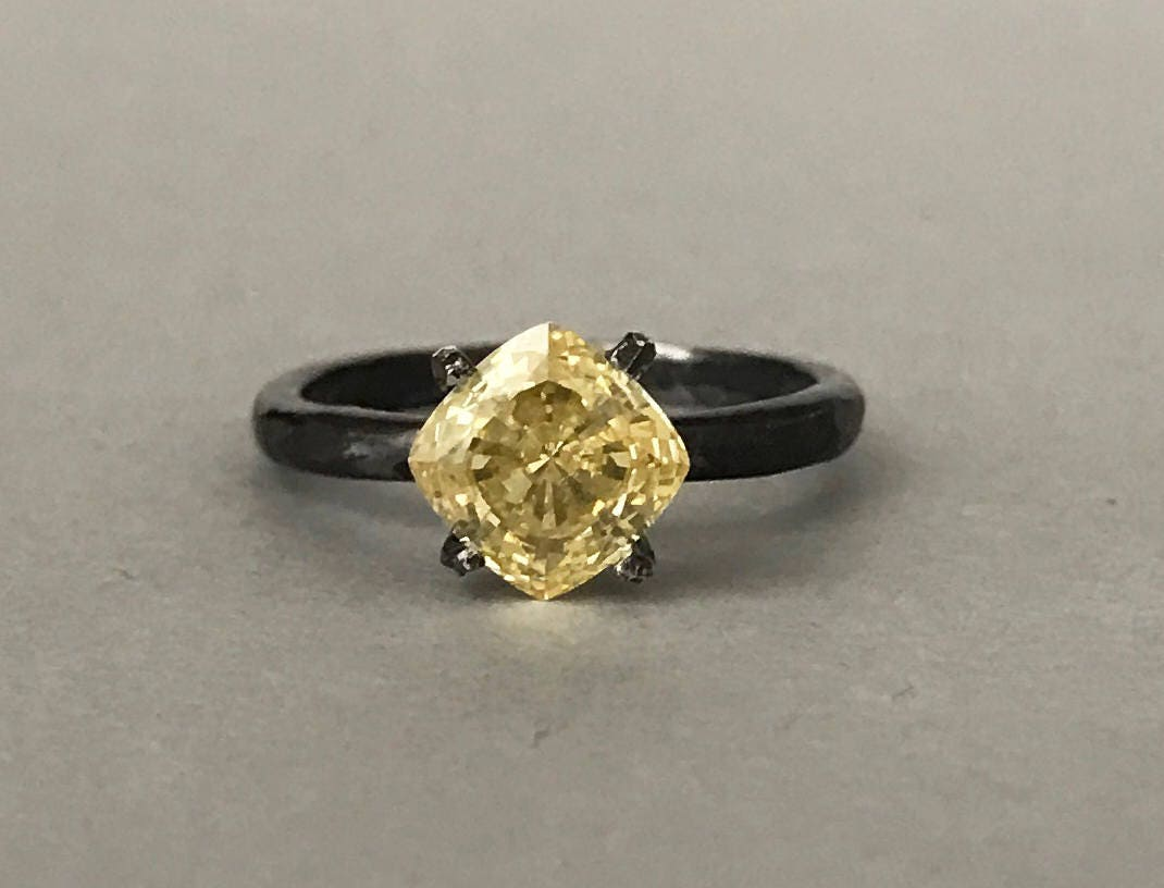Canary Yellow Engagement Ring Cushion Cut Simulated Canary