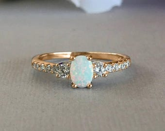 14K Rose Gold Oval White Fire Opal Simulated Diamond Stones Sterling Silver Engagement Promise Ring, Women's White Fire Opal Ring