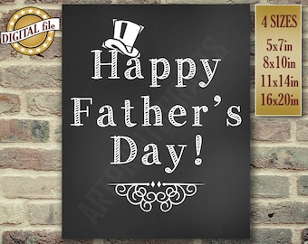 Father's Day Gift, Happy Father's Day, Dad Gift, Daddy Gift, Chalkboard Sign, Gift For Husband, Gift For Dad, Printable DIGITAL FILE