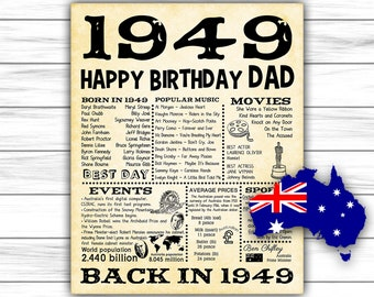 1949 70th Birthday Party Decorations Australian Version Happy Dad 70 Years Ago Back In DIGITAL FILE ONLY