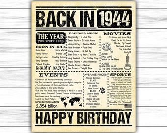 1944 Fun Facts 75th Birthday For Husband Gift Dad Father Parents 75 Years Ago Him Back In DIGITAL FILE ONLY