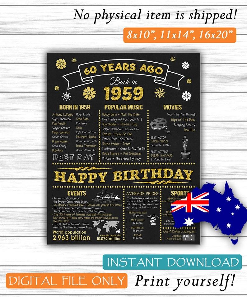 60th Birthday Sign Australian Version 60 Gift 1959