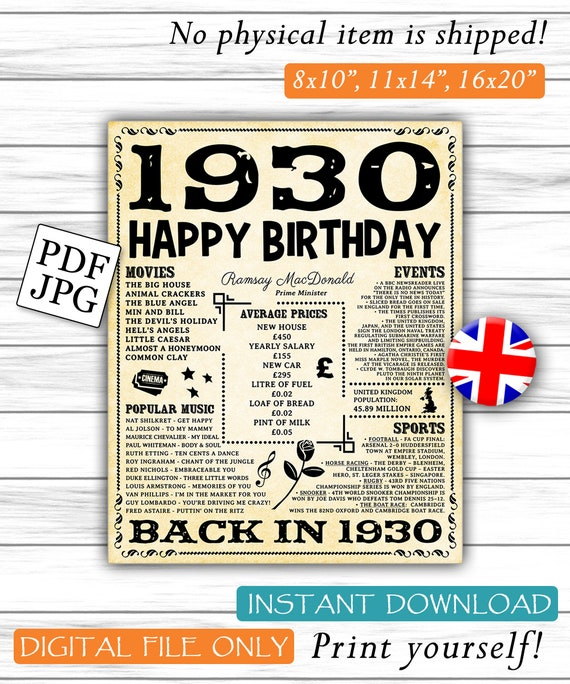 1930 Fun Facts 1930 Uk Birthday Poster For Husband Gift Etsy