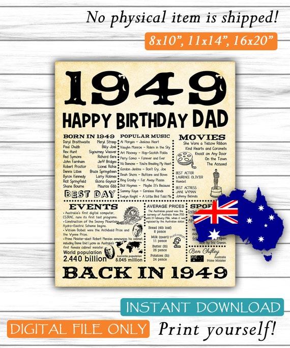 1949 70th Birthday Party Decorations Australian