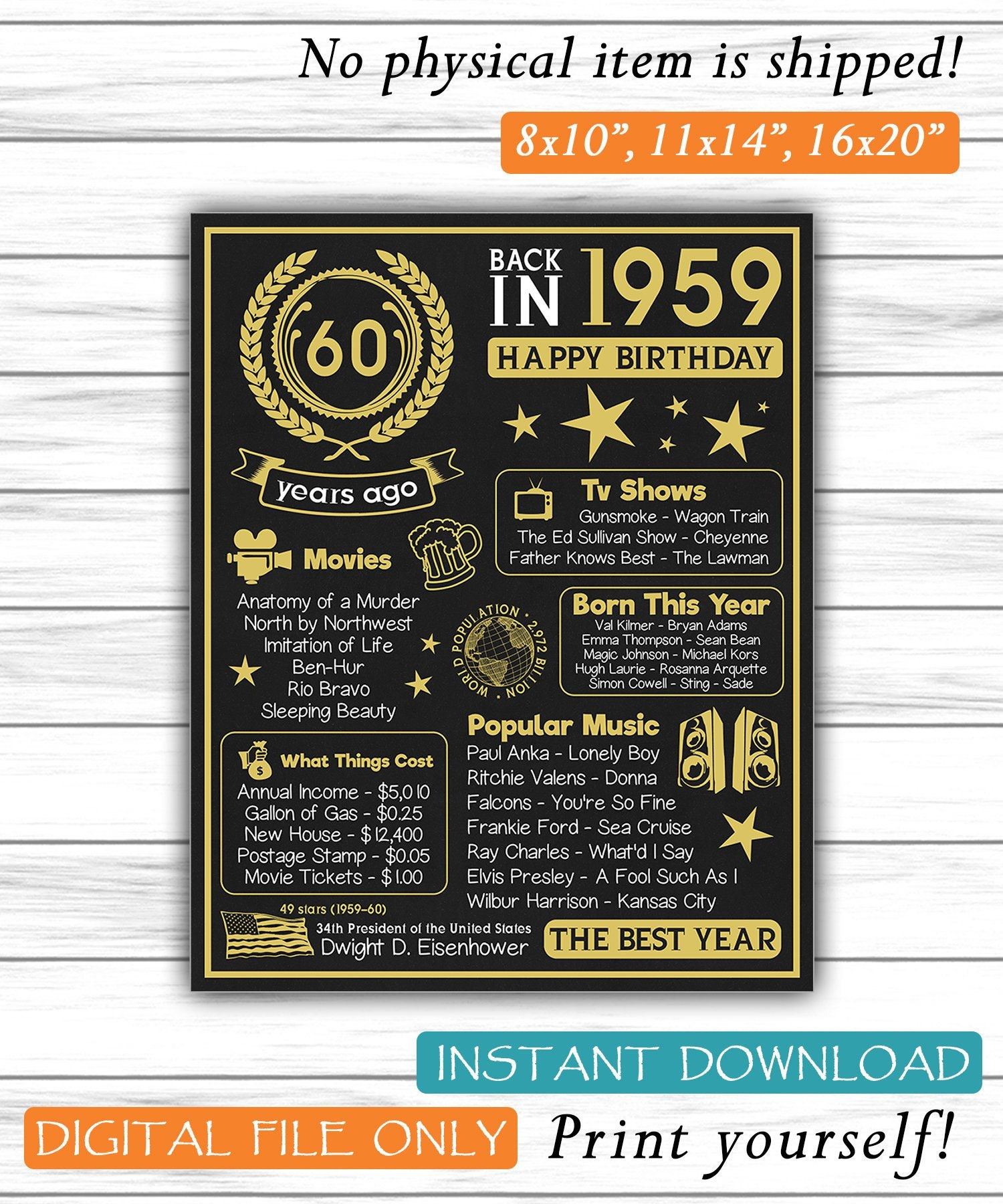 60th Birthday Chalkboard Poster 1959 Party