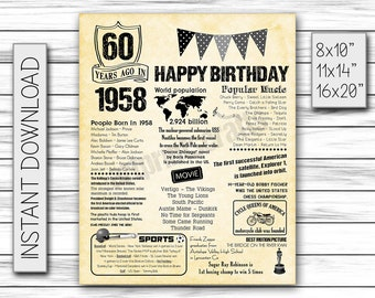 60th Birthday, 1958, Fun Facts 1958, for Husband, Gift for Dad, Father, for Parents, 60 Years Ago, for Him, Back in 1958, DIGITAL FILE ONLY