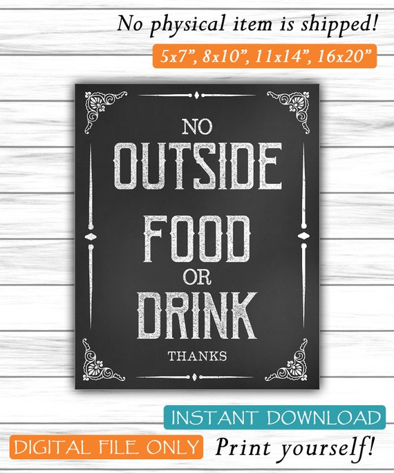 graphic relating to No Food or Drink Signs Printable named Remember to No Outside the house Foods Or Consume Signal, Printable Get together Decor, Foods Indicator, Chalkboard Indication, Recommendations Dwelling Indication, Quick Printable Electronic Report