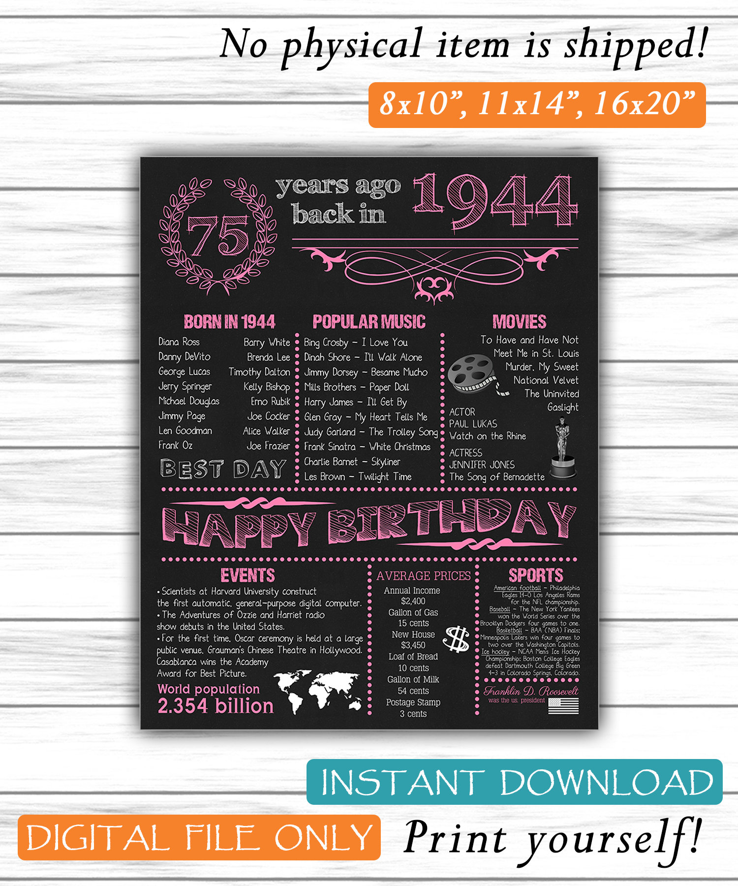 """Age 75 Happy 75th Birthday /""""1944/"""" Party PERSONALIZED DANGLER DECORATIONS"""