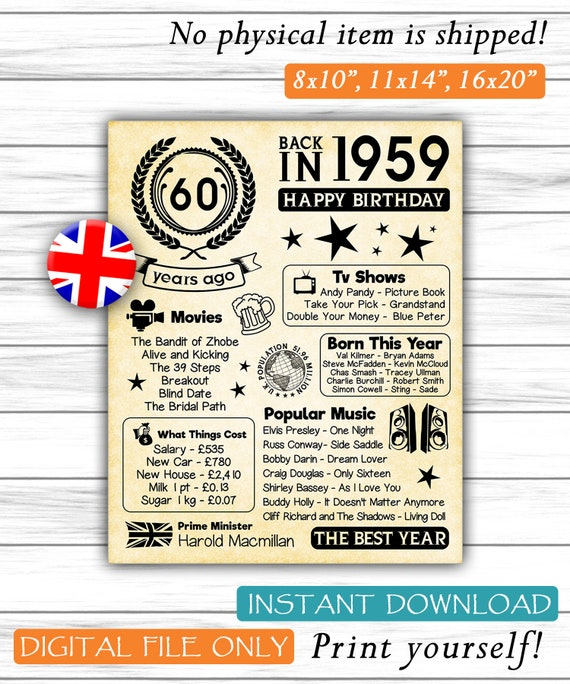 1959 60th Birthday UK Version Fun Facts Gift For