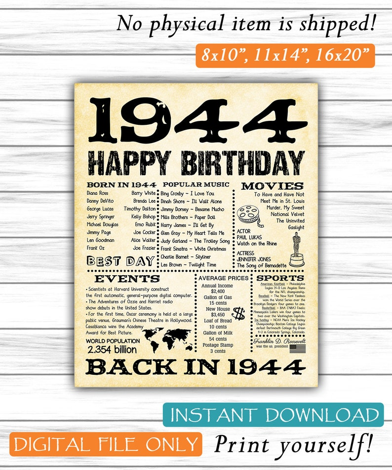 1944 Fun Facts 75th Birthday For Husband Gift