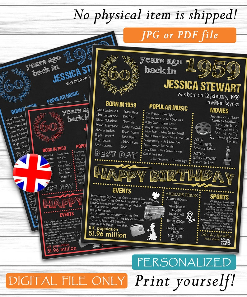 Personalized 60th Birthday Poster 1959 Facts UK Version 60