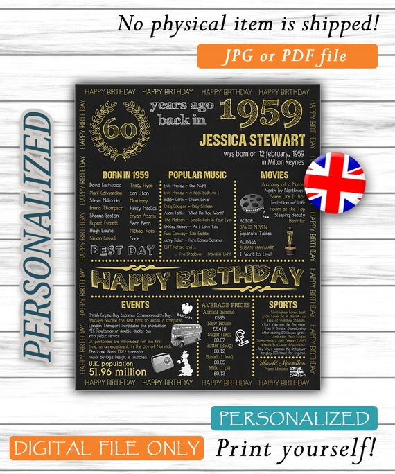 Personalized 60th Birthday Poster UK Version 1959 Facts