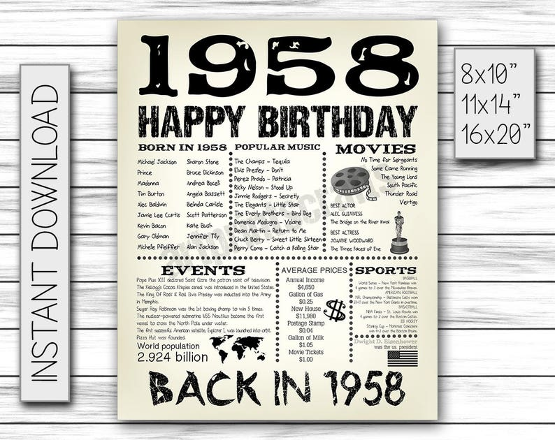 60th Birthday 1958 Fun Facts For Husband Gift