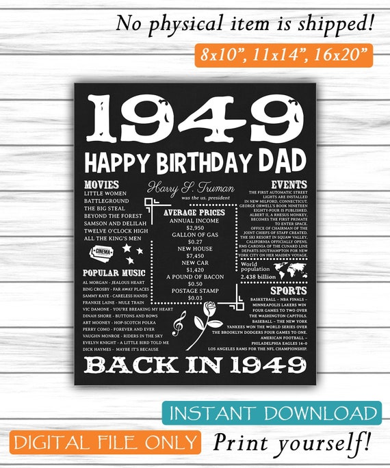 1949 Happy Birthday Dad Fun Facts 70th Party Poster For Sign 70 Years Ago Back In DIGITAL FILE ONLY