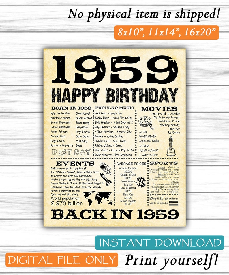 1959 Fun Facts 60th Birthday For Husband Gift