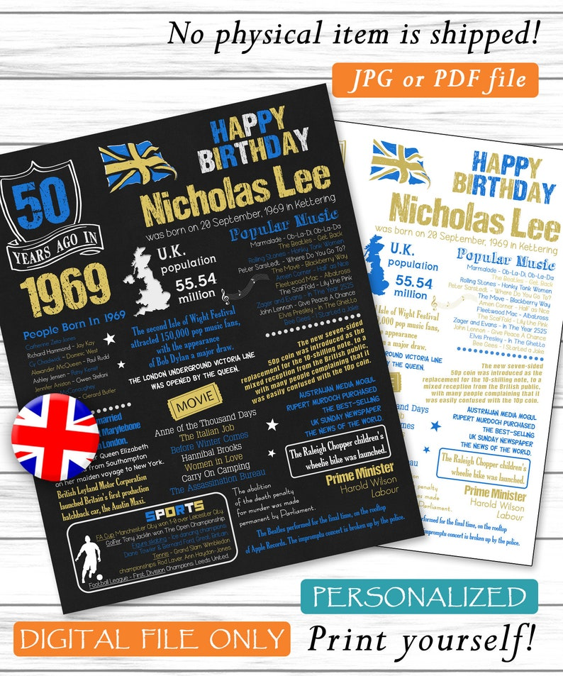 Personalized 50th Birthday Poster, UK Version, 1969 Facts, 50 Birthday,  Custom Birthday, 1969 Birthday Decor, Digital JPG or PDF