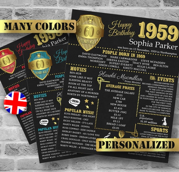 Personalized 60th Birthday Poster UK Version 1959 Facts 60