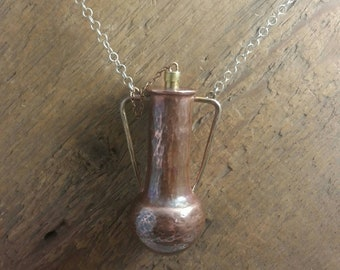 Forged miniature Amphora necklace, wearable container, vessel, essential oil, poison,mystery,