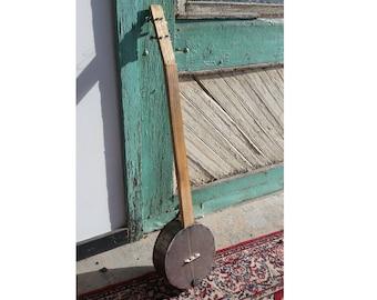 Quadra Fluted String Dinger, open back, steel head, folk art, banjo, diddly bow, cigar box guitar, cbg