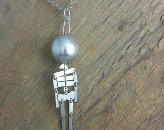 Skeleton Barf Ball locket pendant. Kenitic jewelry. Surprise. Sterling silver. Container.
